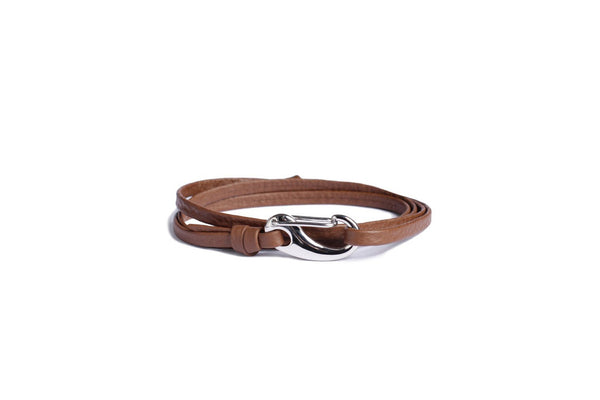 BROWN + SILVER LEATHER BRACELET