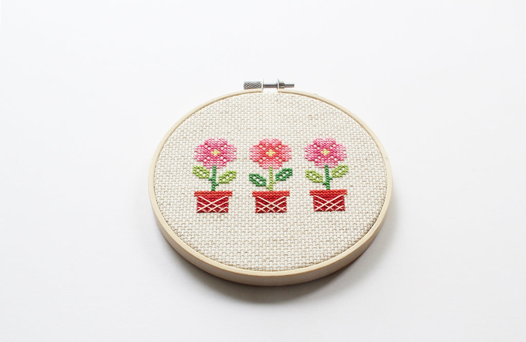 Potted Flowers Cross Stitch DIY Kit
