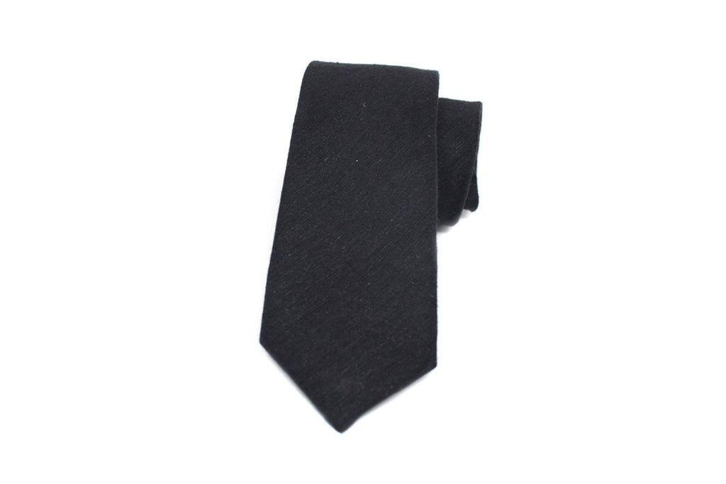 Textured Mattee Black Necktie ---