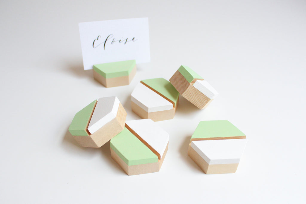 Double Take' White/Mint Wooden Cardholders (Set of 6)