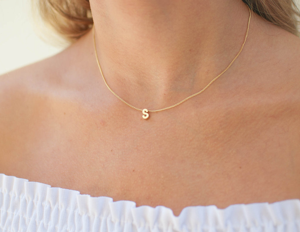 Gold Initial Necklace Brika