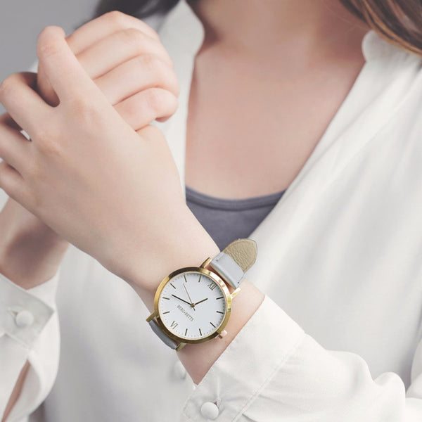 the round watch - gold and grey