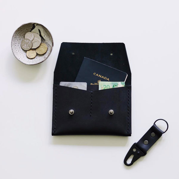 Horwen Black Leather Passport Wallet