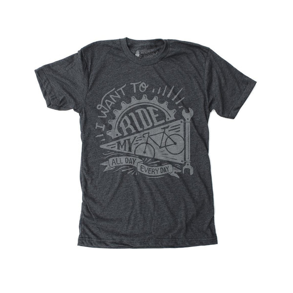 Ride My Bike Heather Black Tee