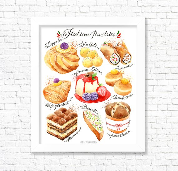 Italian Pastries Fine Art Watercolor Print
