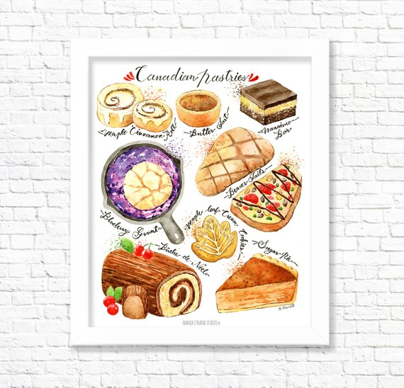 Canadian Pastries Fine Art Watercolor Print