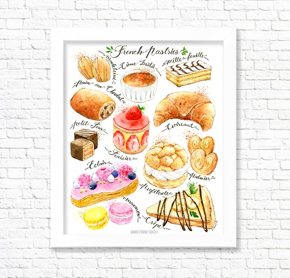 French Pastries Fine Art Watercolor Print