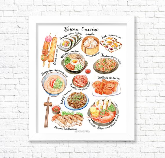 Korean Cuisine Fine Art Watercolor Print