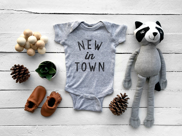 New In Town Typographic Baby Onesie