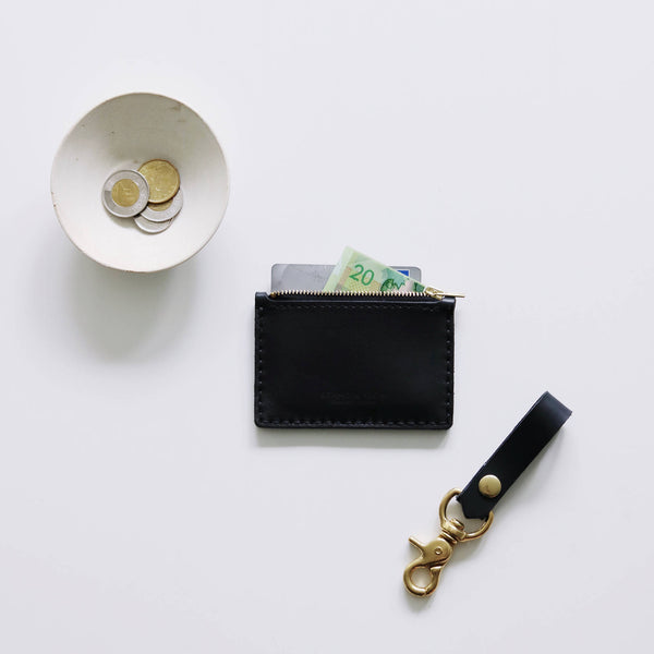 Black Leather Zipper Wallet