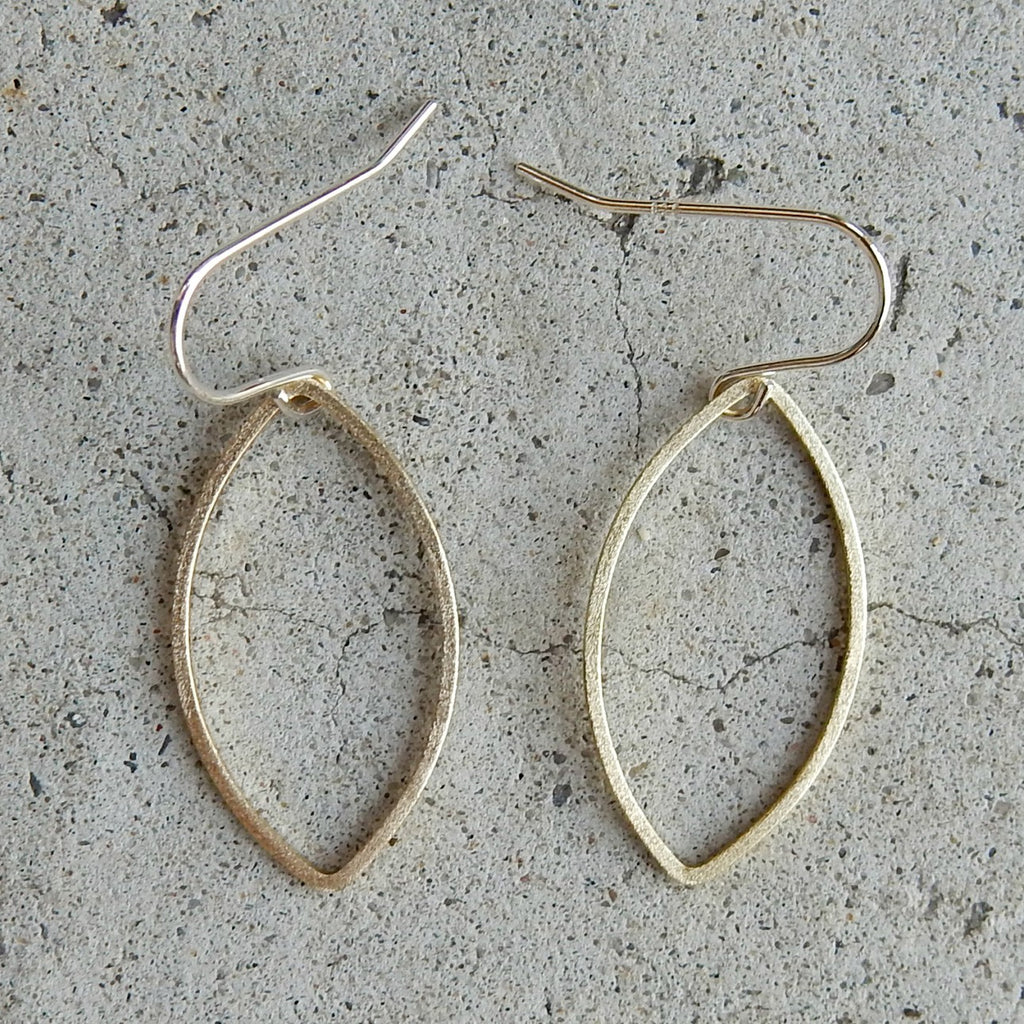 Frosted Brass Leaf Earrings