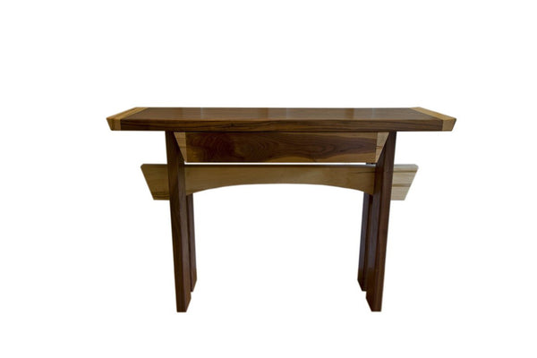 Asian Style Console Table in Walnut and Maple