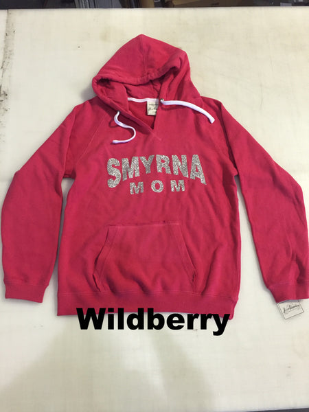 """Smyrna Mom"" Brushed V-Neck Hood - DbyD Printing LLC"