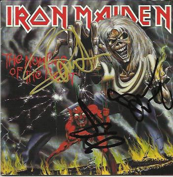 IRON MAIDEN: THE NUMBER OF THE BEAST Multi SIgned CD Album Sleeve