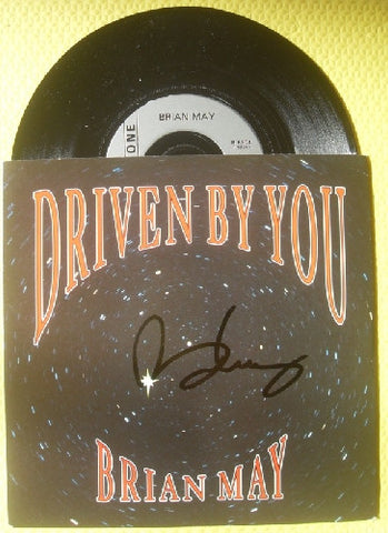 "BRIAN MAY - DRIVEN BY YOU Signed 7"" Vinyl - Queen"