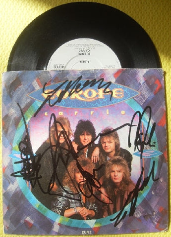 "EUROPE - CARRIE Multi SIgned 7"" Vinyl"