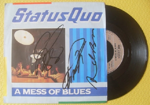 "STATUS QUO - A Mess Of Blues 7"" Vinyl - Multi-Signed"