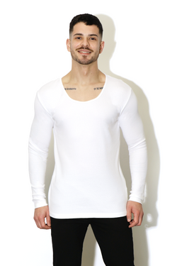 Bad Boy Behaviour Muscle Fit Ribbed Sweater - White