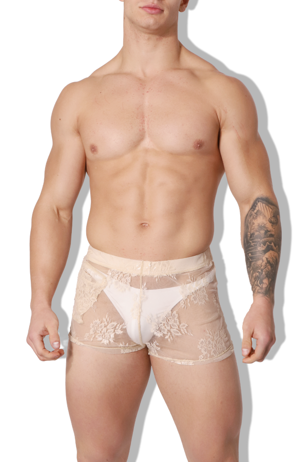 Be My Baby Lace Mesh Short Shorts - Beige