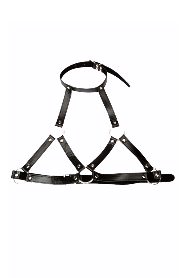 Climax Set with Leather Harness and O Ring Mouth Gag with Nipple Clamps