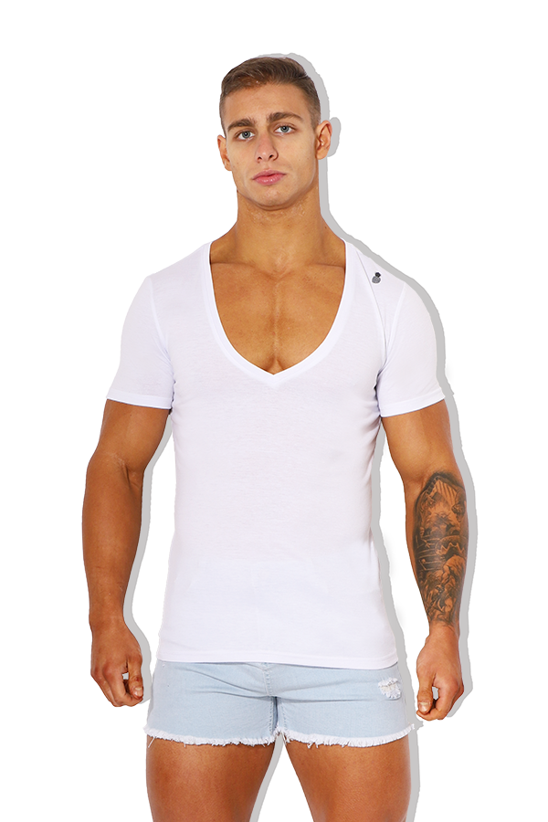 Hungover Basic V Neck Tee - White