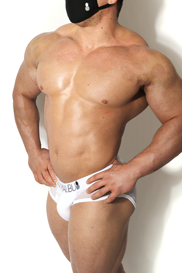 Privacy Mesh Briefs - White