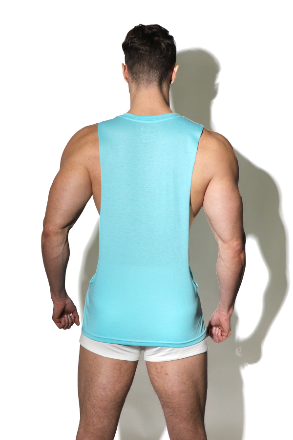 Open Relationship Drop Arm Hole Tank Top - Aqua