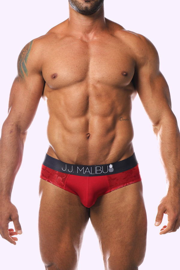 JJ Floral Briefs - Red Rose - J.J. Malibu