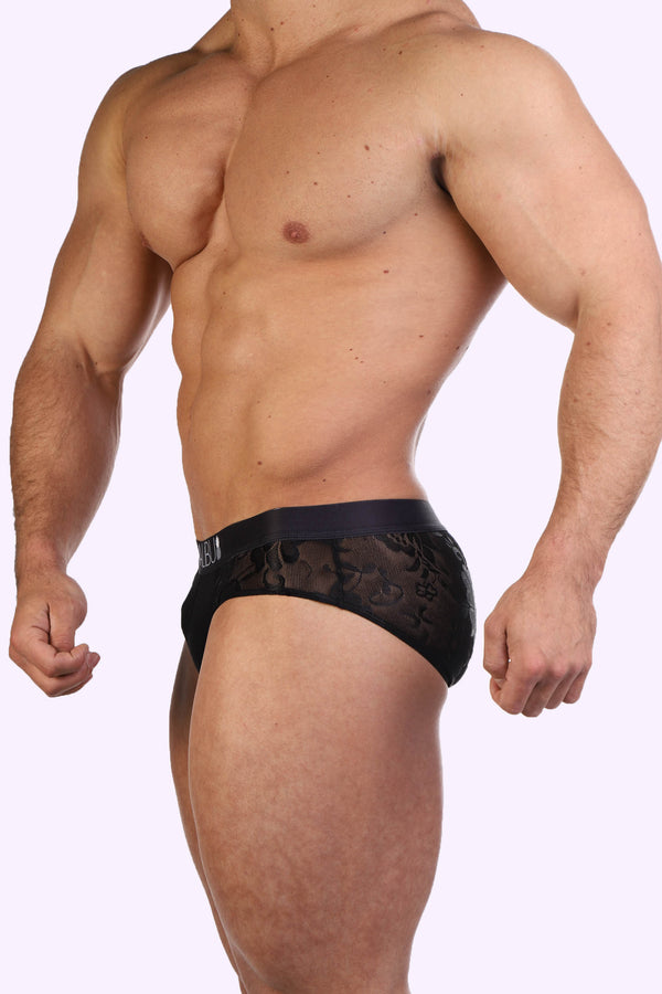 JJ Floral Briefs - Black Rose - J.J. Malibu