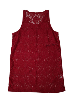 Kiss N Tell Lace Tank Top - Burgundy