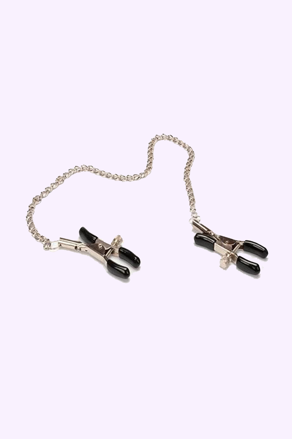 Adjustable Nipple Clamps with Beaded Chain for BDSM | Adult Sex Toys for Gay Men. Dom and Sub Play.