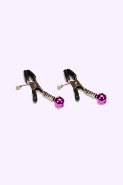 Adjustable Nipple Clamps with Purple Bells for BDSM | Adult Sex Toys for Gay Men