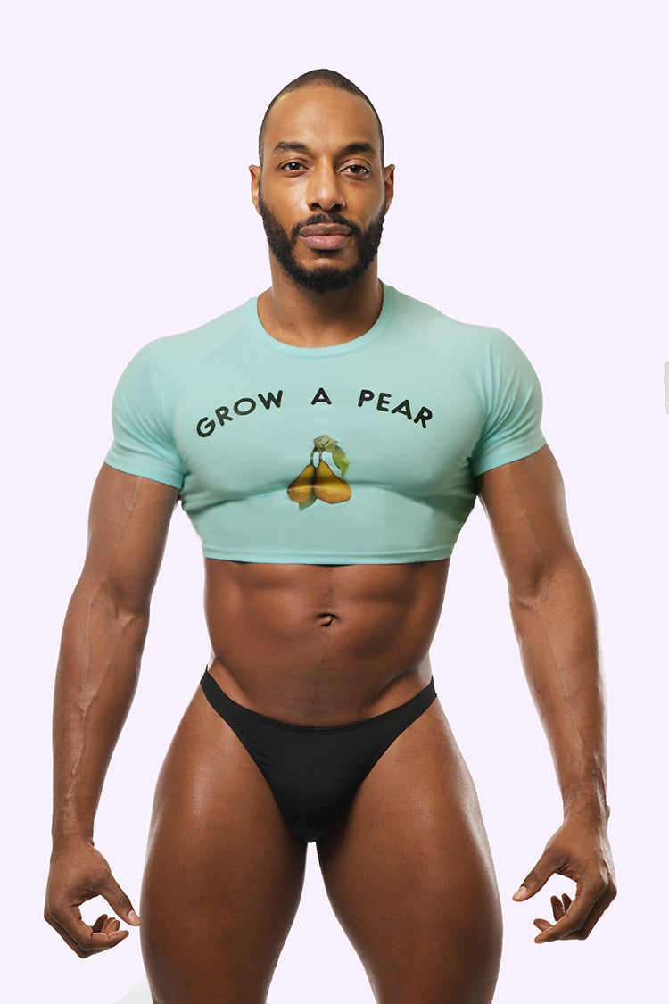 light blue crop top. pear crop top. crop top with pear. men's crop top. men crop top. crop top for men. gay men clothing. gay clothing brand.