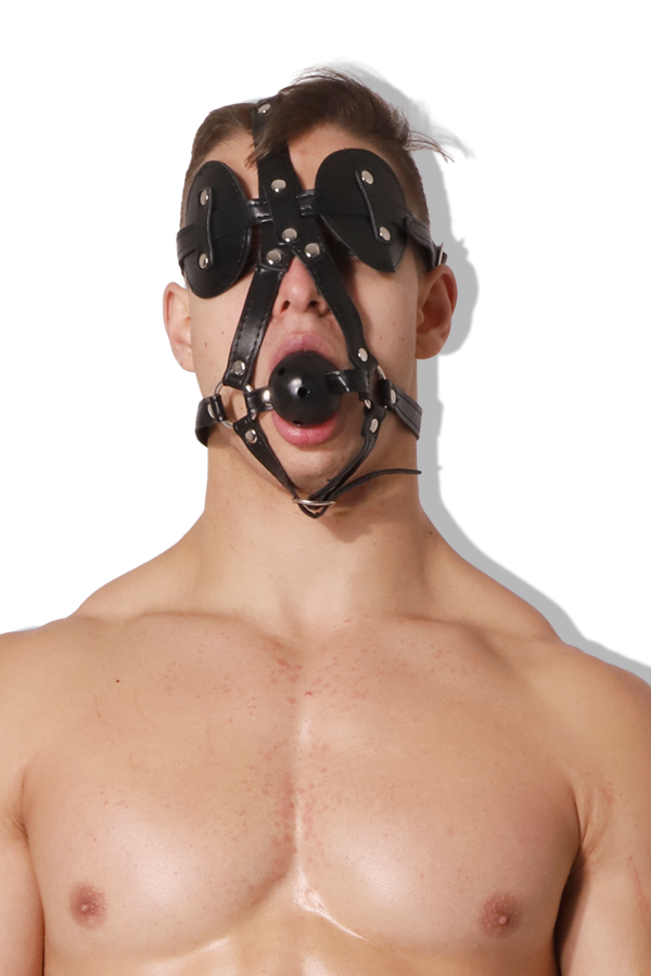 Untamed Leather Blindfold with Ball Gag