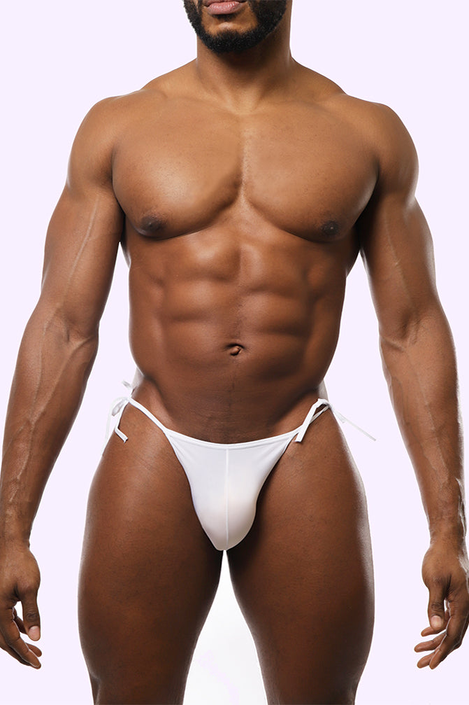 white bikini. white bottom. white men's bikini. men's white swimwear. white swimwear for men. white party outfit.