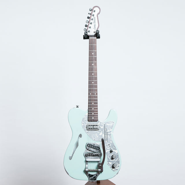James Trussart Deluxe SteelCaster Bigsby, Ocean Blue on Cream Roses