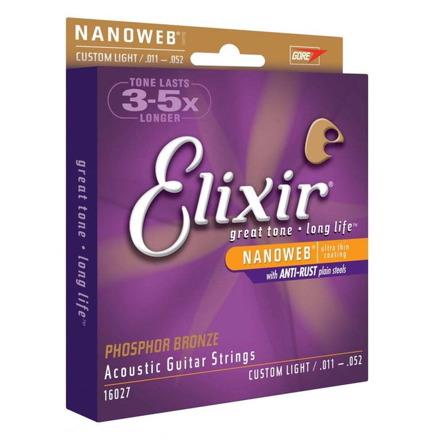 Elixir Nanoweb E16027 Phosphor Bronze Acoustic Guitar Strings 11-52 Custom Light