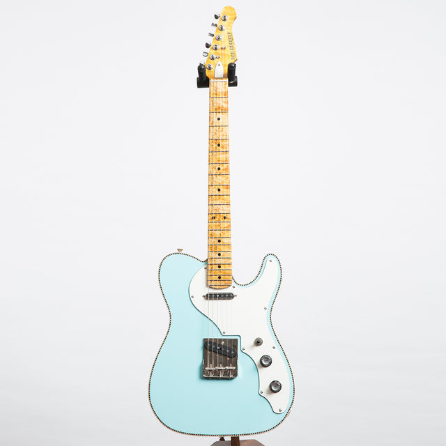 Red Rocket Two Tone Atomic Electric Guitar, Pale Mint Blue & Trans Dark Cream