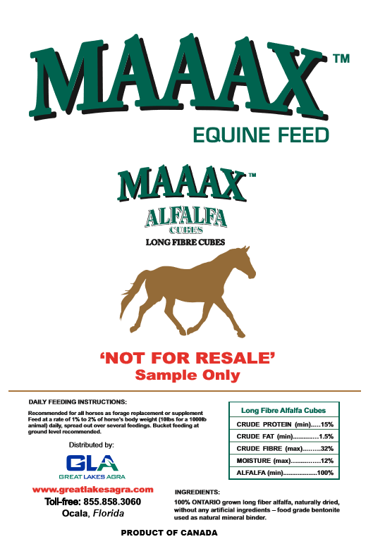 SAMPLE - USA - MAAAX Alfalfa Forage Cubes - 1lb