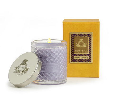 Lavender & Rosemary Woven Crystal Candle