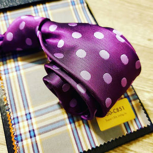 Purple Polka dot tie and Suit fabric