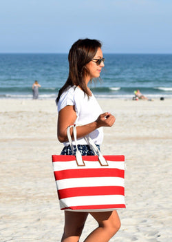 "Sun ""N"" Sand Large Tote Red/Light Natural"