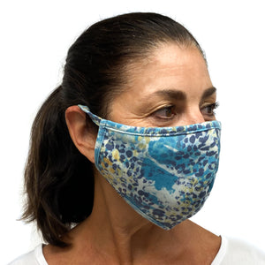 Cotton Face Mask Blue Animal Print