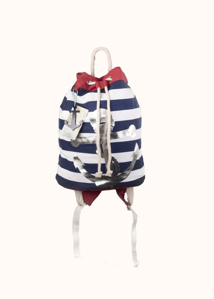 "Sun ""N"" Sand Backpack Nautical – Silver Anchor, Navy/White"
