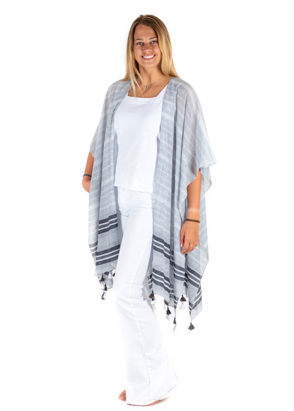 Cotton Tasseled Wrap in Gray Stripe