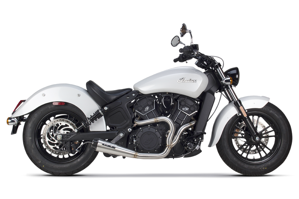 Indian Scout (2017) Comp-S 2-1 Ceramic Black w/ Carbon Fiber Endcap Full System - Part Number 005-4610199-B - Two Brothers Racing - TBR