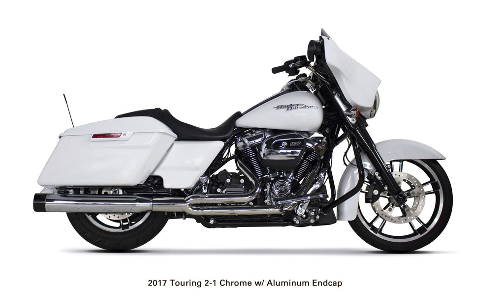 Harley Davidson Touring (2017-20 Milwaukee Eight) Comp-S 2-1 Chrome w/ Black Endcap Full System - Part Number 005-4640199 - Two Brothers Racing - TBR