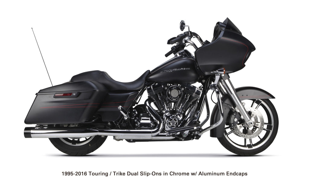 Harley Davidson Touring/Trike (1995-2016) Chrome w/ Black Endcap - Part Number 005-4380499D - Two Brothers Racing - TBR