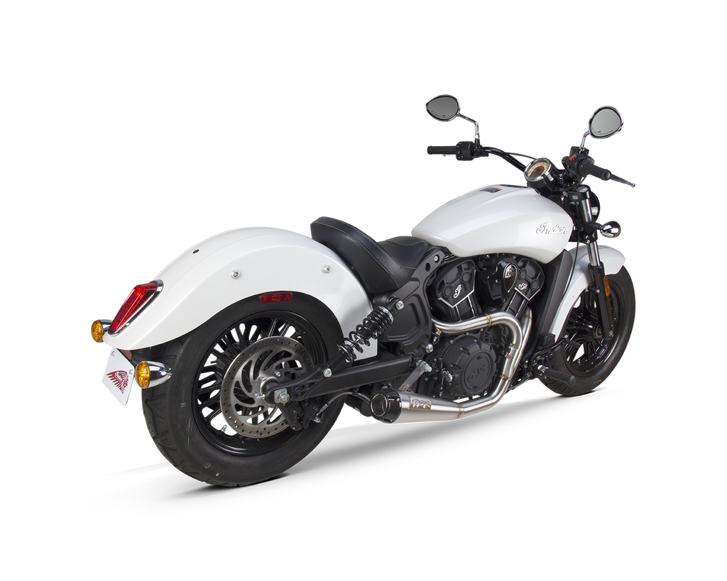 Indian Scout (2015-2020) Comp-S 2-1 Ceramic Black w/ Carbon Fiber Endcap Full System - Part Number 005-4610199-B - Two Brothers Racing - TBR