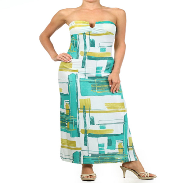 Geometric Print Teal Strapless Maxi Dress With A Sweetheart Neck Line S, M, L,